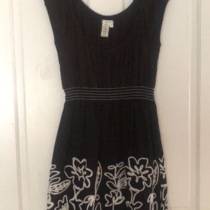 Black and White Embroidered Dress